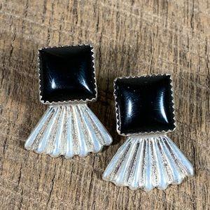 Navajo Sterling Silver Onyx Fan Earrings